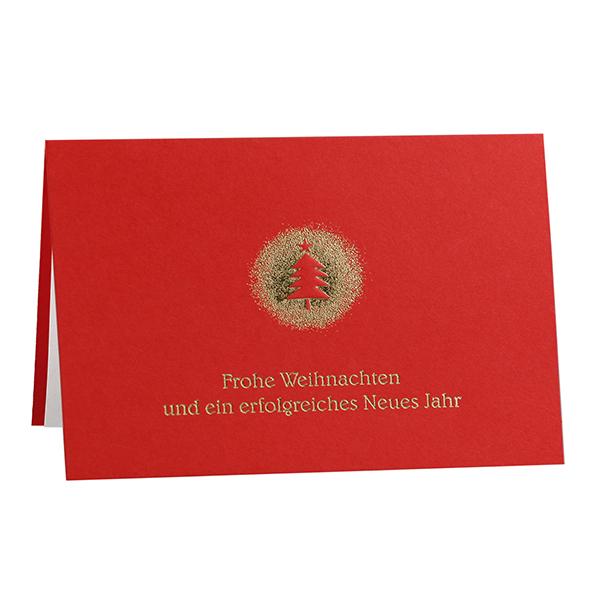 Weihnachtskarte Weihnachtsbaum Goldglanz