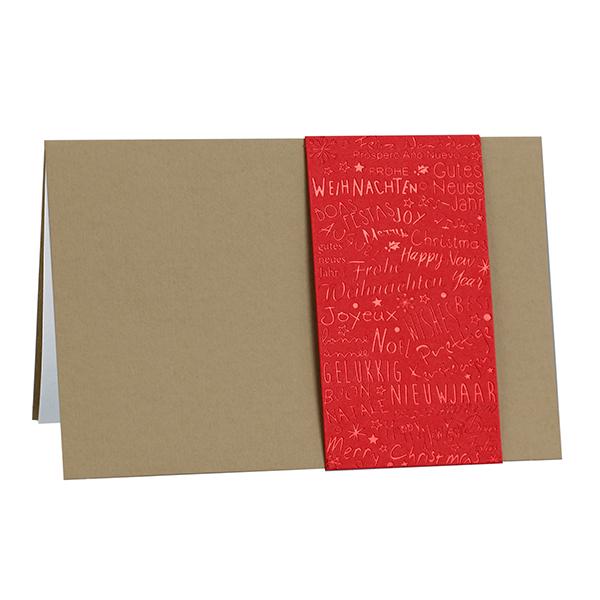 Weihnachtskarte Banderole rot