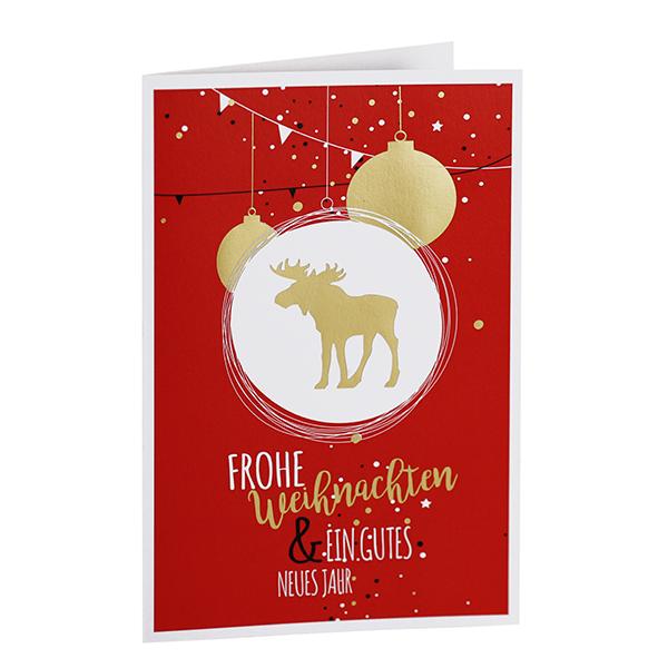 Weihnachtskarte Goldener Weihnachtselch