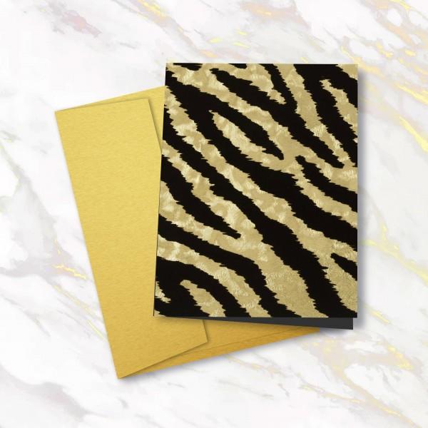 Grußkarte - Gold Tiger
