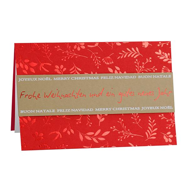 Weihnachtskarte Mistelzweig rot